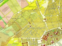 1833, Pest város belső részének térképrészlete, 5., 6.,7.,8. Kerület